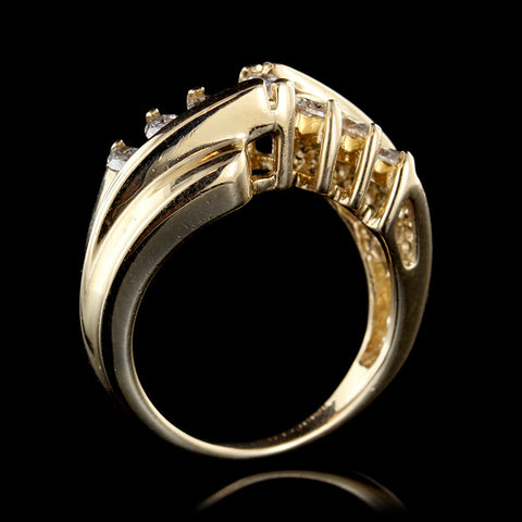 14K Yellow Gold Estate Graduated Marquise Diamond Ring