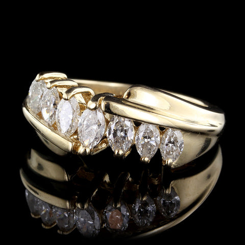 14K Yellow Gold Graduated Marquise Diamond Ring