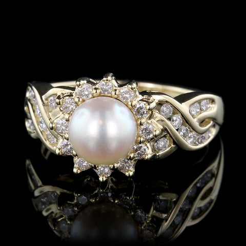 14K Yellow Gold Pearl and Diamond Ring