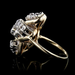 14K Yellow Gold Estate Diamond Cluster Ring