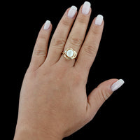 14K Yellow Gold Freshwater Pearl and Diamond Ring