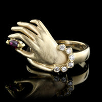 18K Yellow Gold Ruby and Diamond Hand Ring