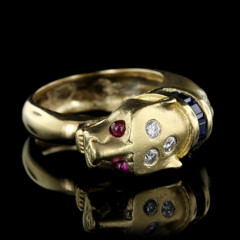 18K Yellow Gold Sapphire, Ruby and Diamond Lion Head Ring