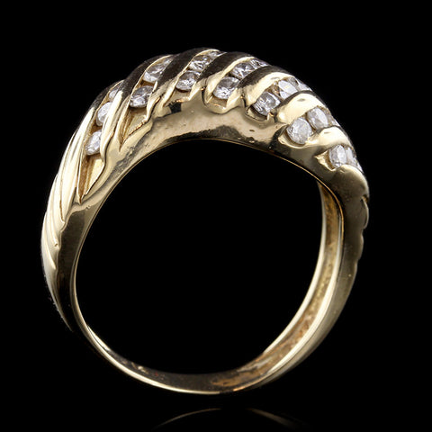 14K Yellow Gold Diamond Swirl Ring