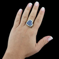 18K White Gold Sapphire and Diamond Heart Ring