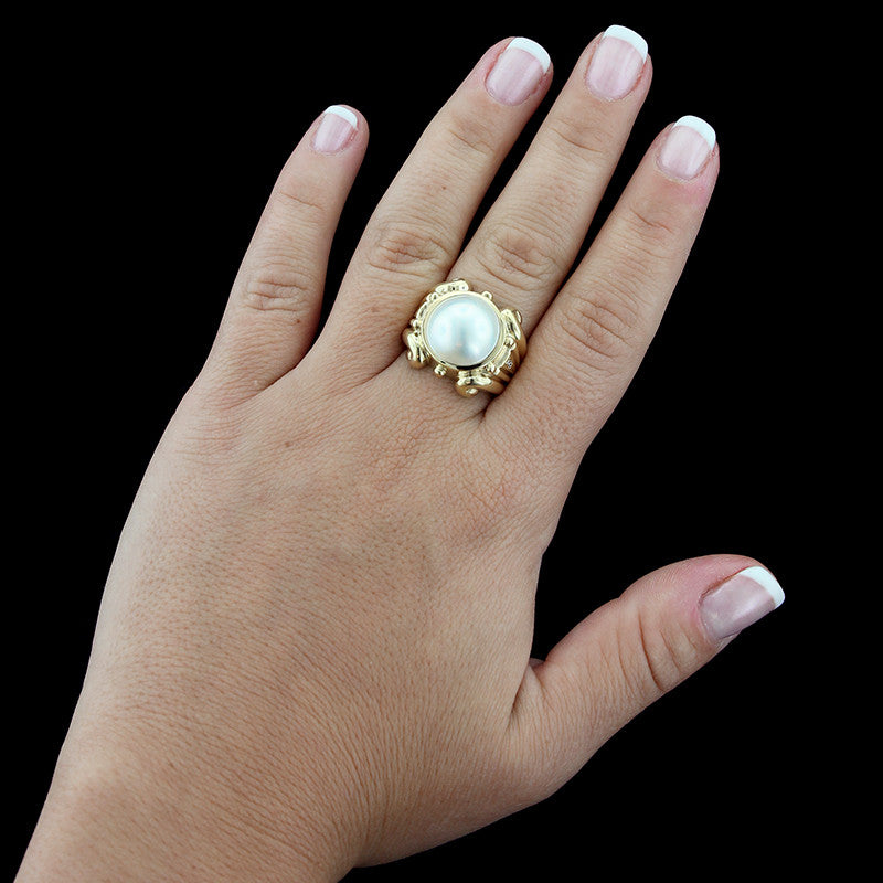 14K Yellow Gold Cultured Mabe Pearl and Diamond Ring