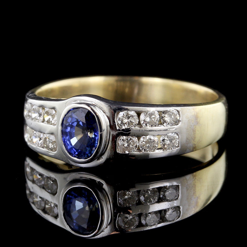14K Two-tone Sapphire and Diamond Ring