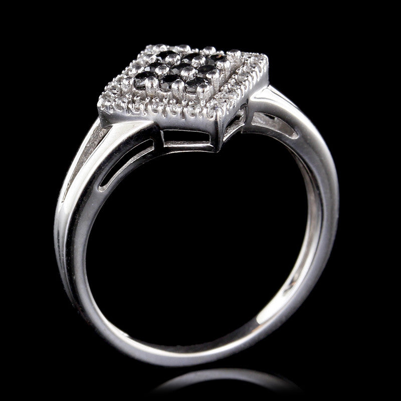 14K White Gold Black Diamond and Diamond Ring