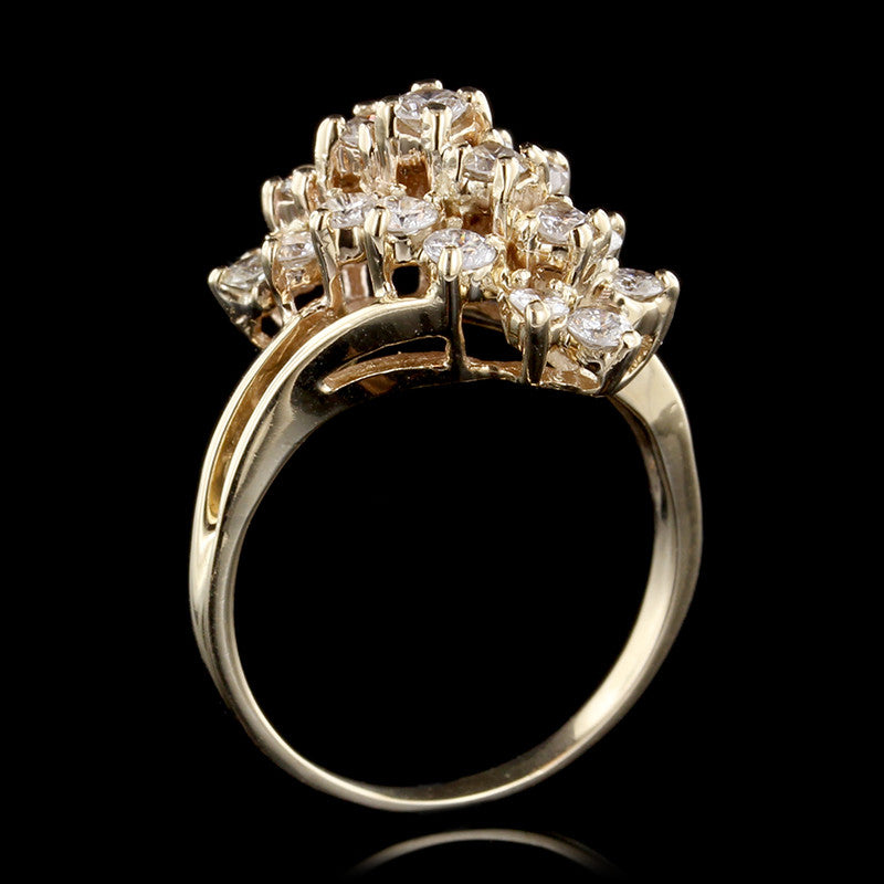 14K Yellow Gold Cluster Ring