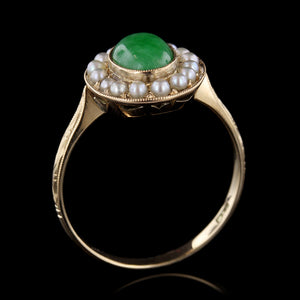 14K Yellow Gold Jadeite and Pearl Ring