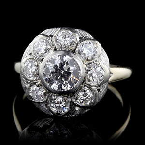 14K Two-tone Diamond Cluster Ring