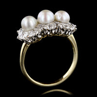 Antique Platinum and 18K Yellow Gold Cultured Pearl and Diamond Ring