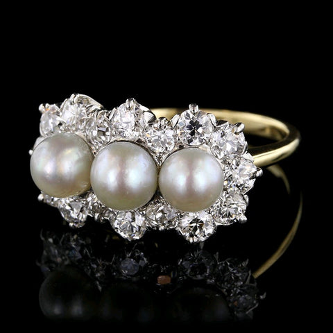 Antique Platinum, 18K Yellow Gold Pearl and Diamond Ring