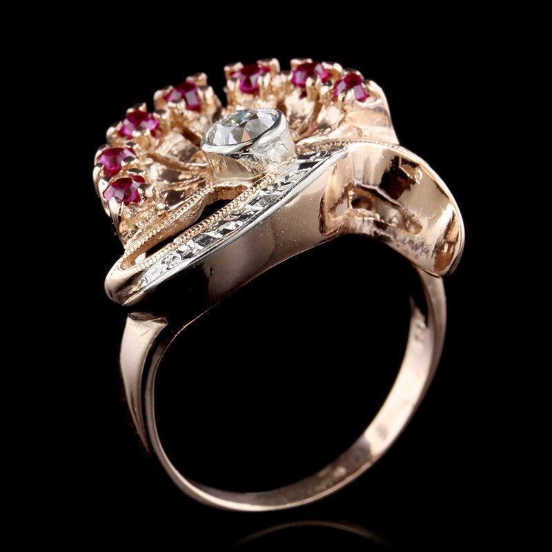 Retro 14K Rose Gold Synthetic Ruby and Diamond Ring