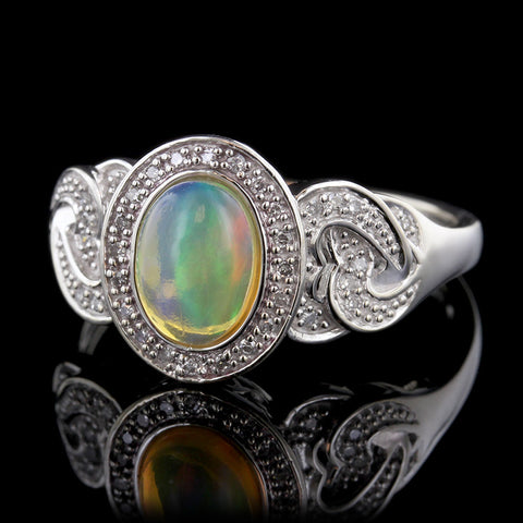 14K White Gold Mexican Fire Opal and Diamond Ring