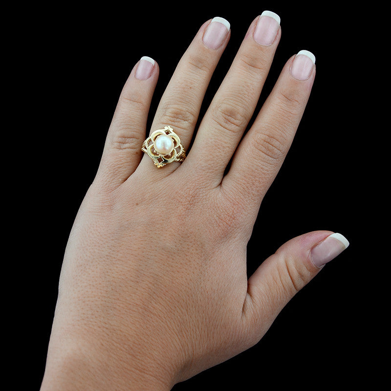 14K Yellow Gold Estate Cultured Pearl Ring