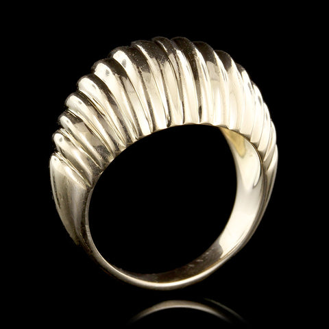 14K Yellow Gold Dome Shrimp Ring