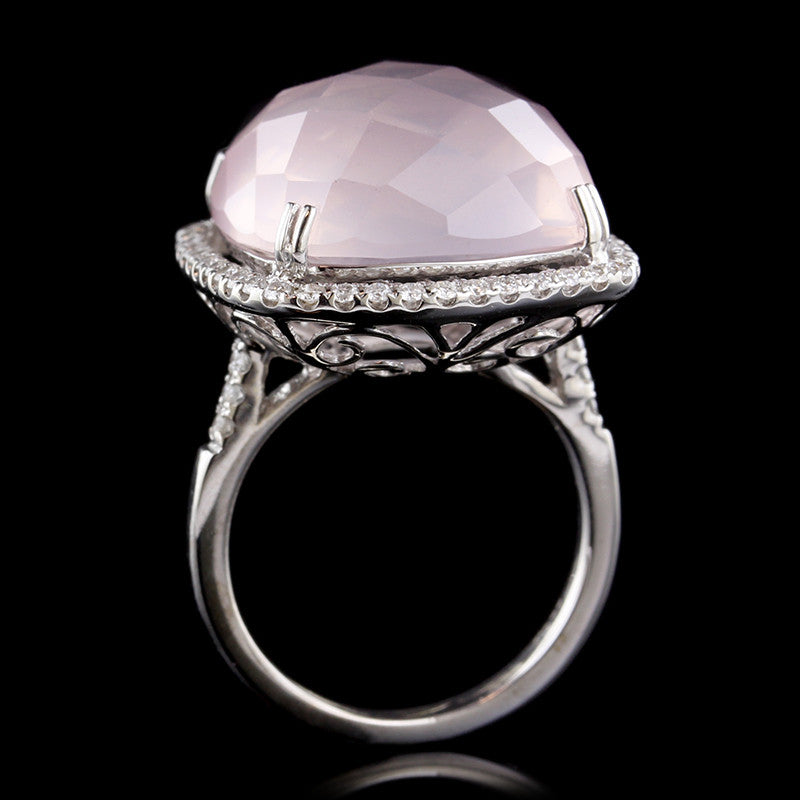 14K White Gold Rose Quartz and Diamond Ring