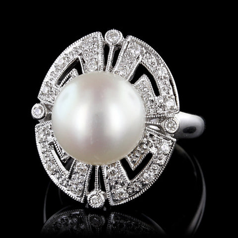 14K White Gold Pearl and Diamond Ring