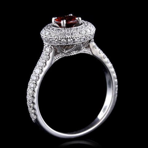 14K White Gold Garnet and Diamond Ring