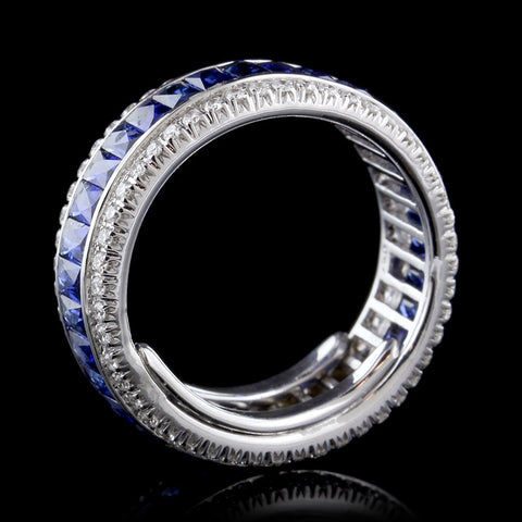 18K White Gold Sapphire and Diamond Eternity Band