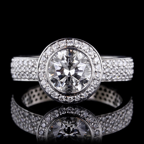 18K White Gold Estate Diamond Halo Engagement Ring