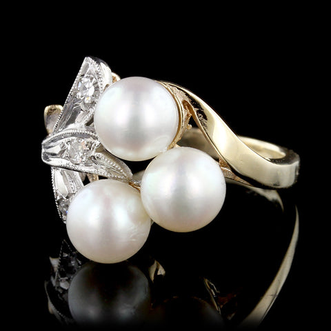 14K Two-tone Gold Cultured Pearl and Diamond Ring