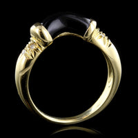 18K Yellow Gold Onyx and Diamond Ring