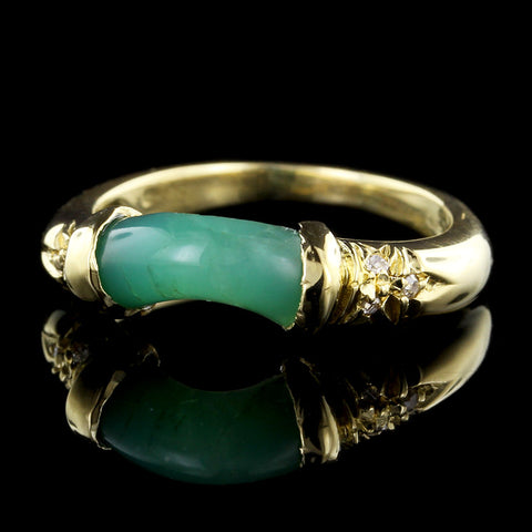 18K Yellow Gold Green Onyx and Diamond Ring