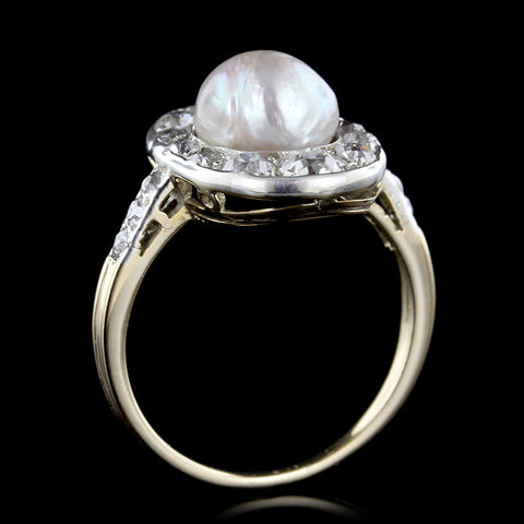 Antique Freshwater Pearl and Diamond Ring