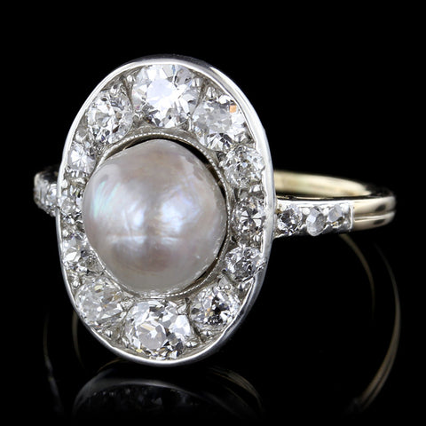 14K Yellow Gold and Platinum Freshwater Pearl and Diamond Ring