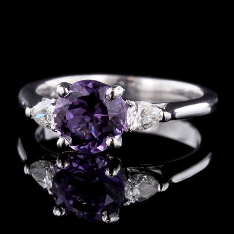 Platinum and Amethyst Diamond Ring