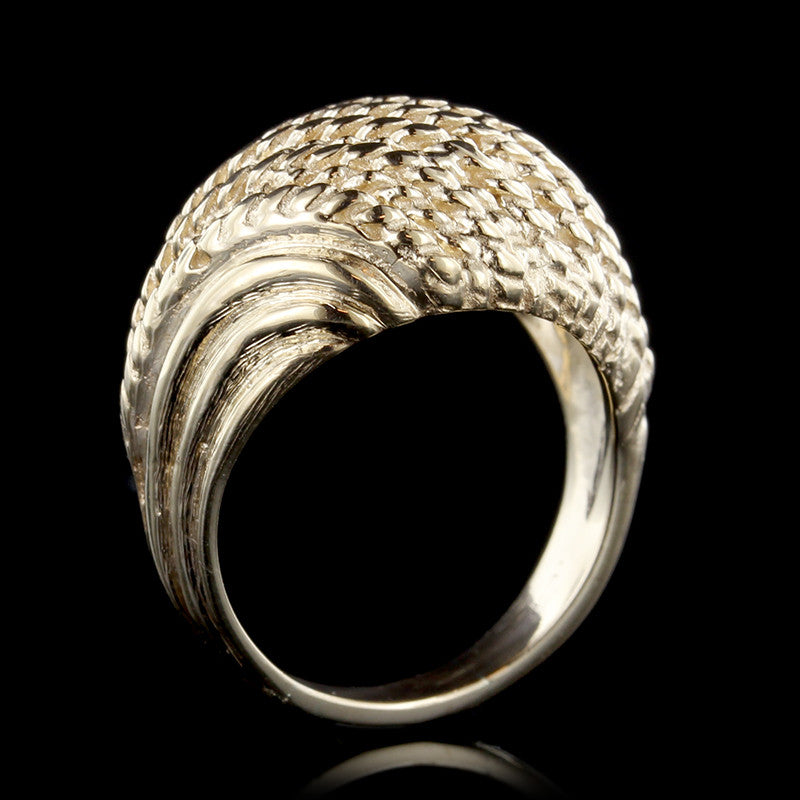 14K Yellow Gold Braided Dome Ring