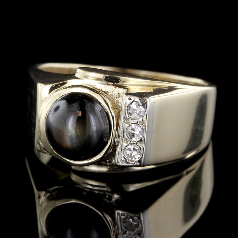 14K Yellow Gold Black Star Sapphire and Diamond Ring