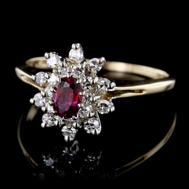 14K Two-tone Gold Ruby and Diamond Ring