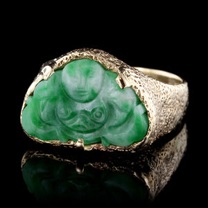 14K Yellow Gold Carved Jadeite Buddha Ring