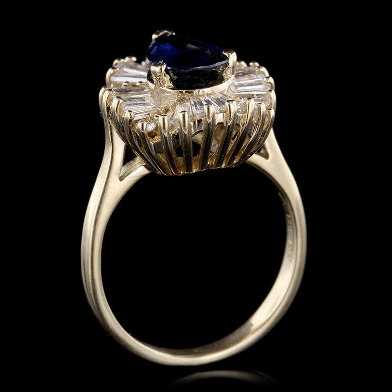 14K Yellow Gold Sapphire and Diamond Ring