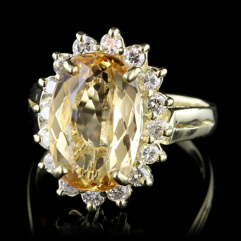 14K Yellow Gold Yellow Topaz and Diamond Ring