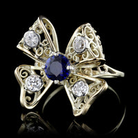 14K Yellow Gold Sapphire and Diamond Bow Ring