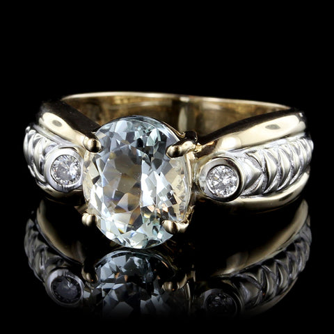 14K Two-tone Gold Aquamarine and Diamond Ring