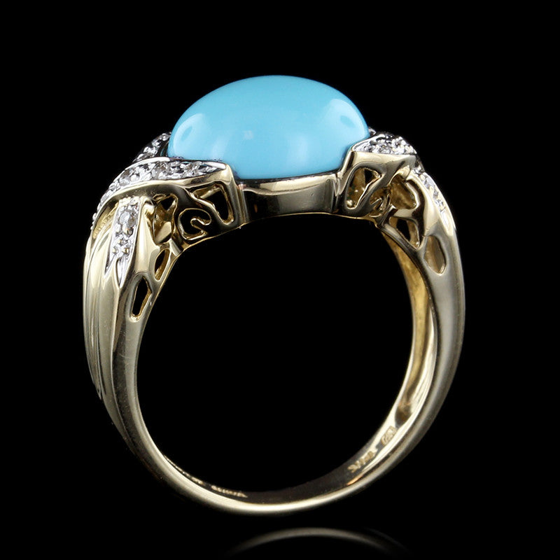 14K Yellow Gold Reconstituted Turquoise and Diamond Ring