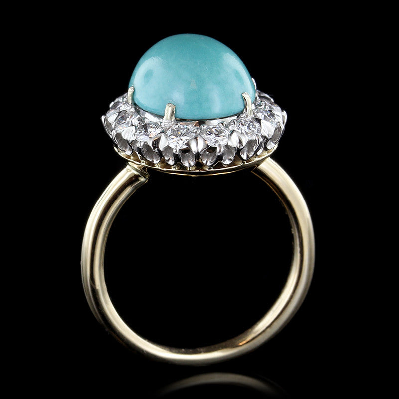 18K Yellow Gold Estate Turquoise and Diamond Ring