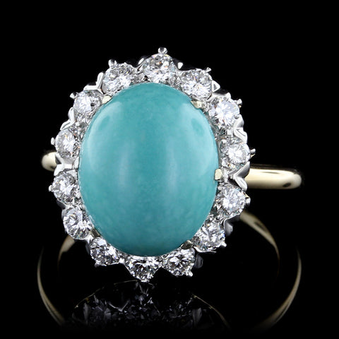 18K Yellow Gold Turquoise and Diamond Ring