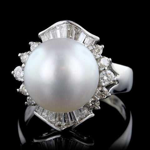 18K White Gold South Sea Pearl and Diamond Ring