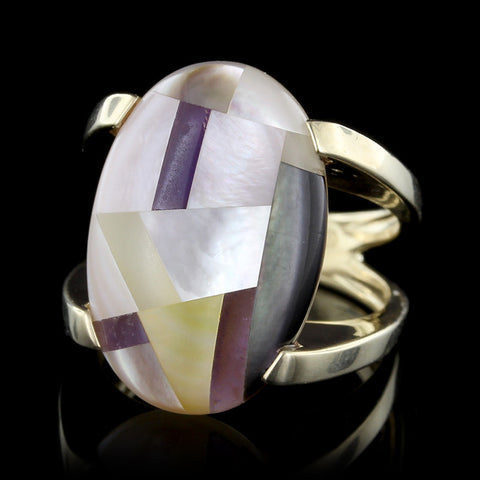 14K Yellow Gold Mother of Pearl and Sugalite Ring