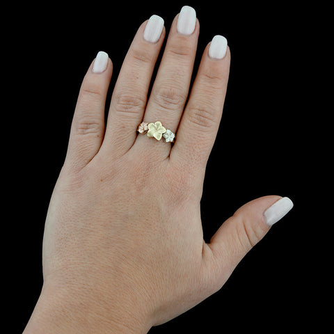 14K Tricolor Gold Plumeria Ring