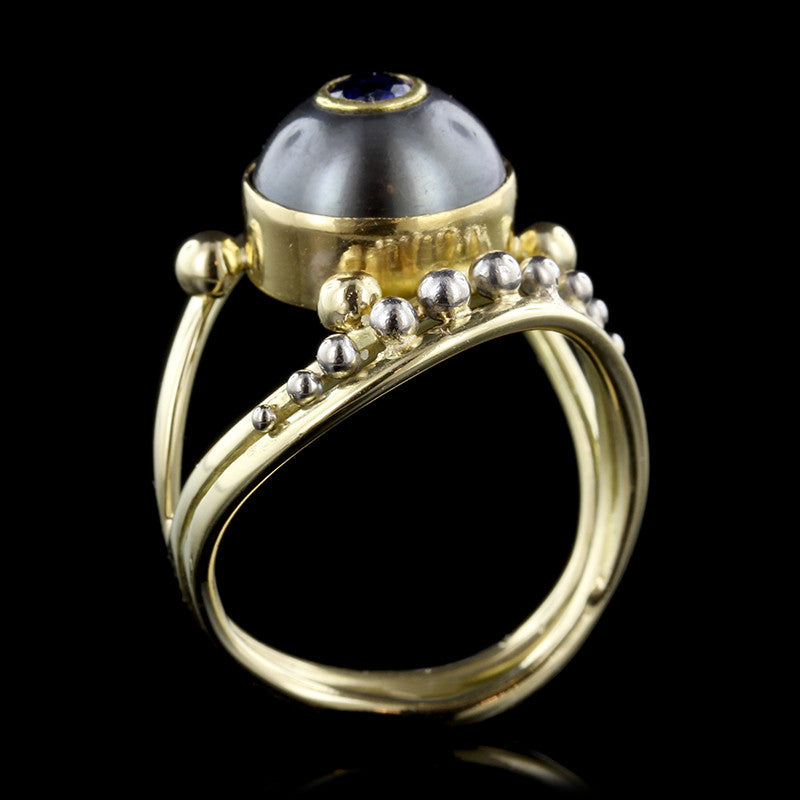Agnieszka Winograd 22K and 18K Two-Tone Gold Tahitian Pearl and Sapphire Ring