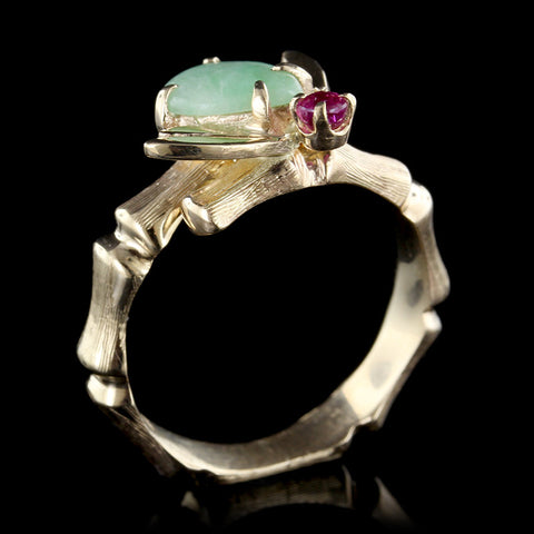 14K Yellow Gold Jadeite and Ruby Ring