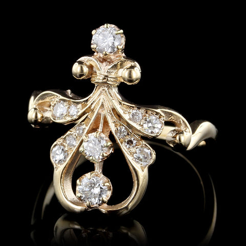 14K Yellow Gold Antique Style Diamond Ring