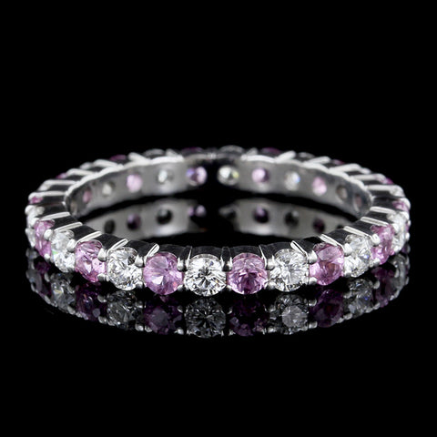 18K White Gold Pink Sapphire and Diamond Eternity Band